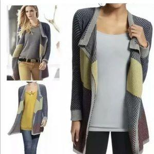 Cabi 467 sweater cardigan striped gray large open